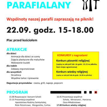 Zaproszenie na Piknik Parafialny