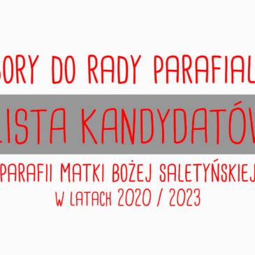 Lista KANDYDATÓW do Rady Parafialnej 2020/2023 r.: